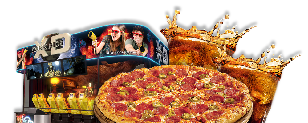 Family Pack - XD Dark Ride, Pizza & Drinks